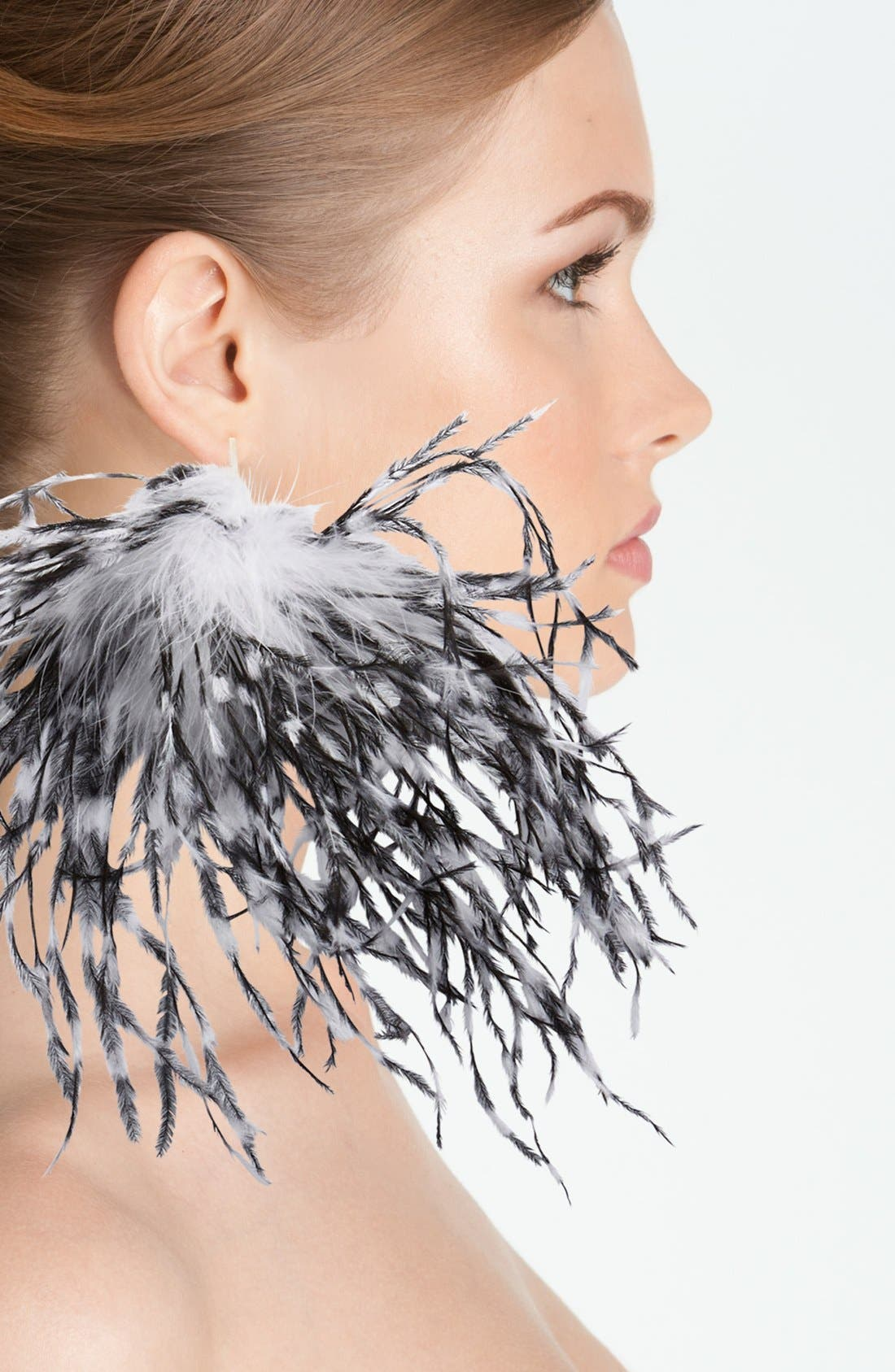 Alternate Image 2  - Tuleste Genuine Ostrich & Marabou Feather Stud Earrings