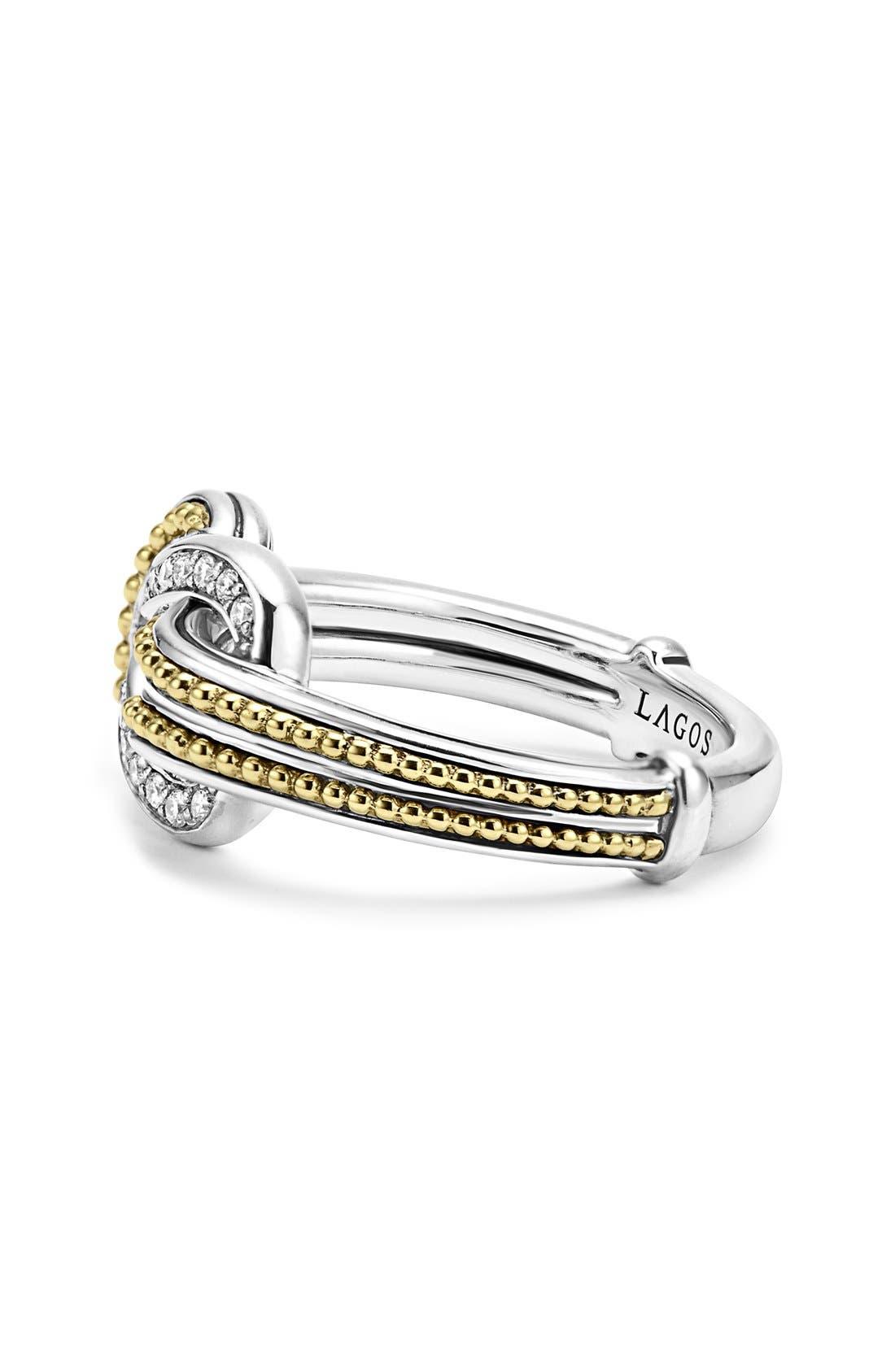 'Newport' Diamond Knot Ring,                             Alternate thumbnail 3, color,                             Silver/ Gold