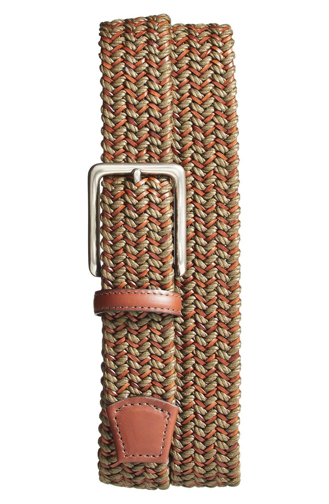 Woven & Leather Belt,                         Main,                         color, Olive/ Cognac