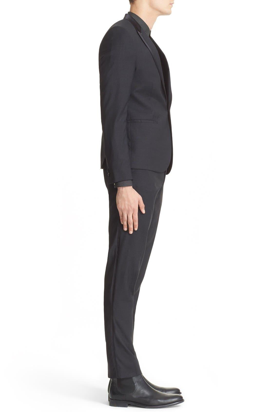 'Netting' Trim Fit Suit Jacket,                             Alternate thumbnail 3, color,                             Black
