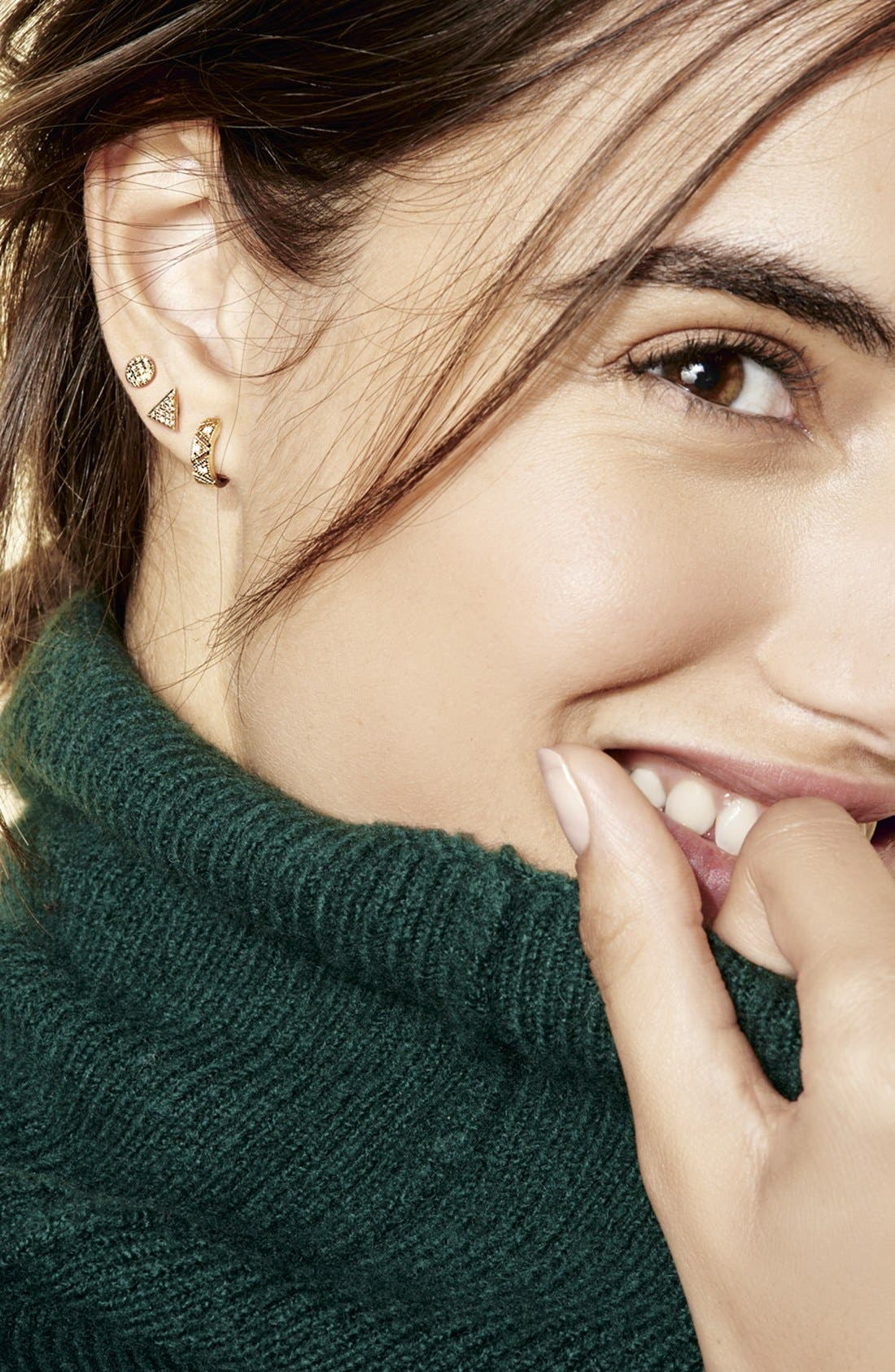 'Emily Sarah' Diamond Pavé Triangle Stud Earrings,                             Alternate thumbnail 4, color,