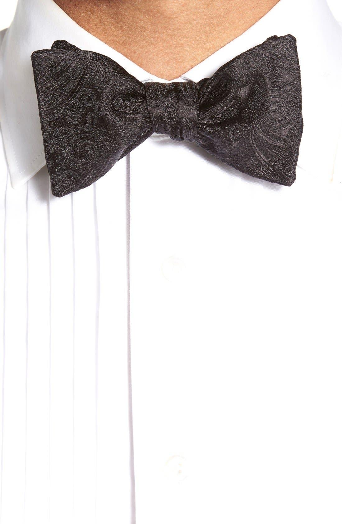 'Protocol' Paisley Silk Cummerbund & Bow Tie Set,                             Alternate thumbnail 2, color,                             Black