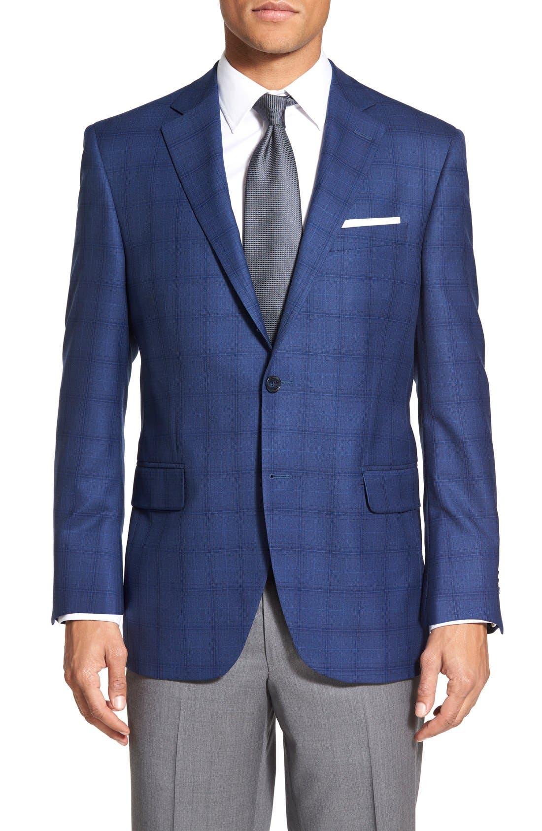 'Flynn' Classic Fit Plaid Wool Sport Coat,                         Main,                         color, Blue
