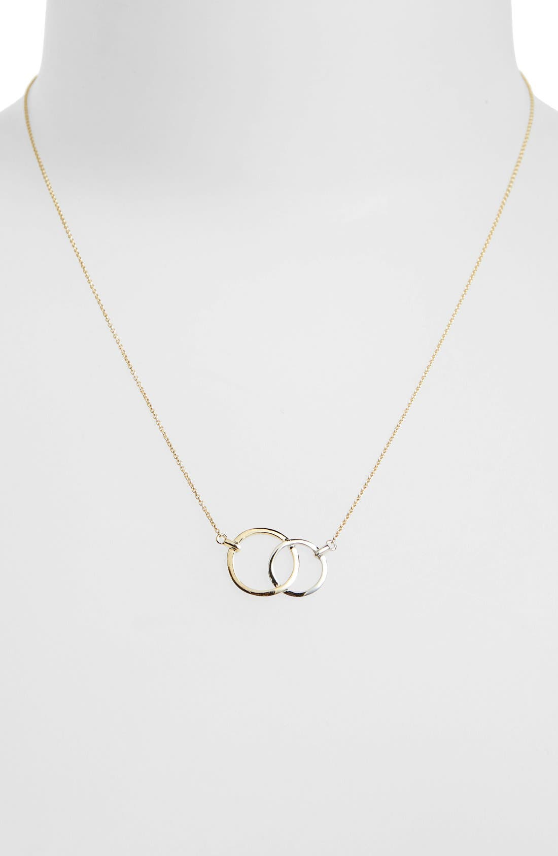 Double Circle Pendant Necklace,                             Alternate thumbnail 2, color,                             Yellow Gold/ White Gold