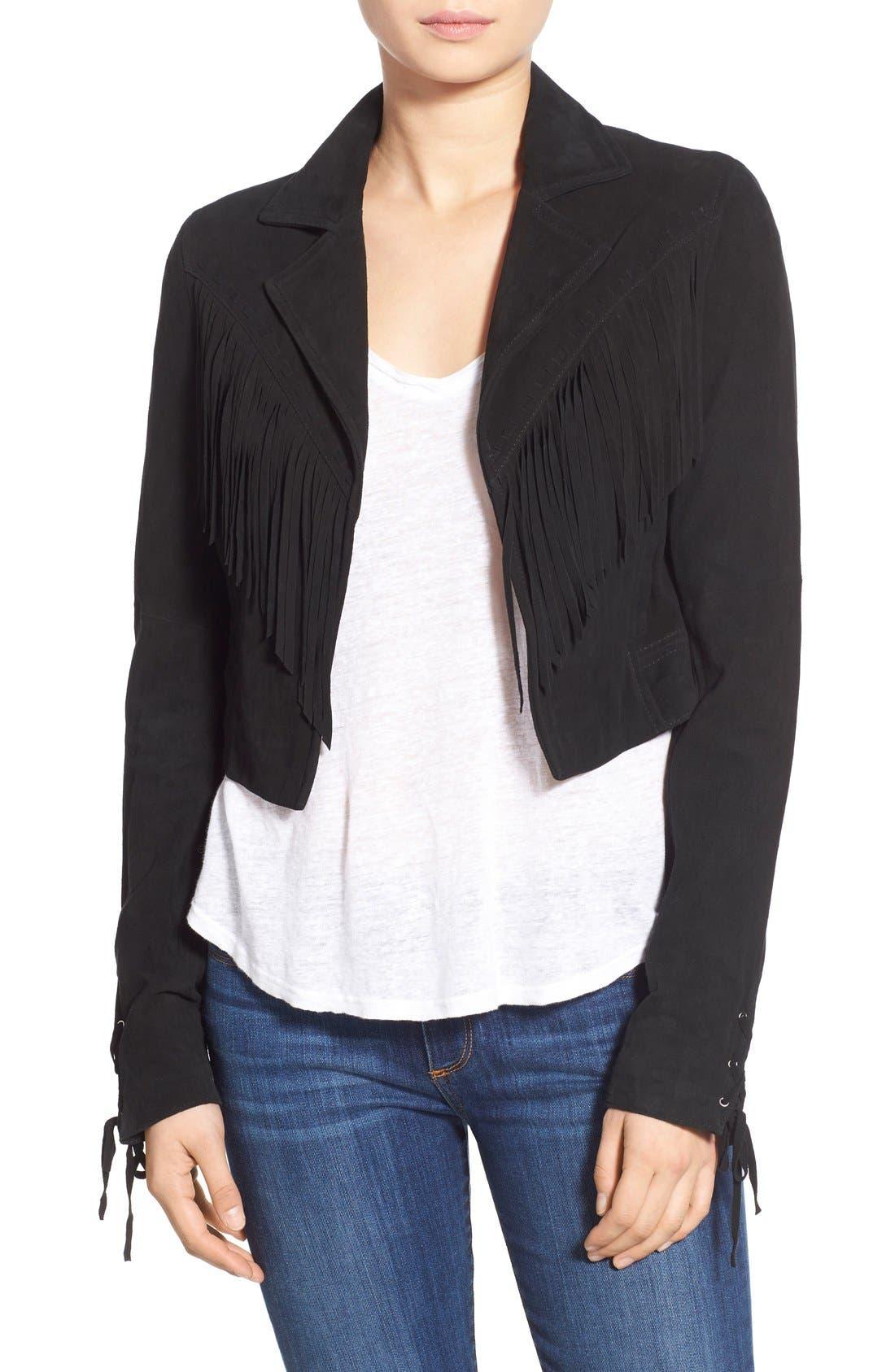 'Darlene' Suede Jacket,                         Main,                         color, Black