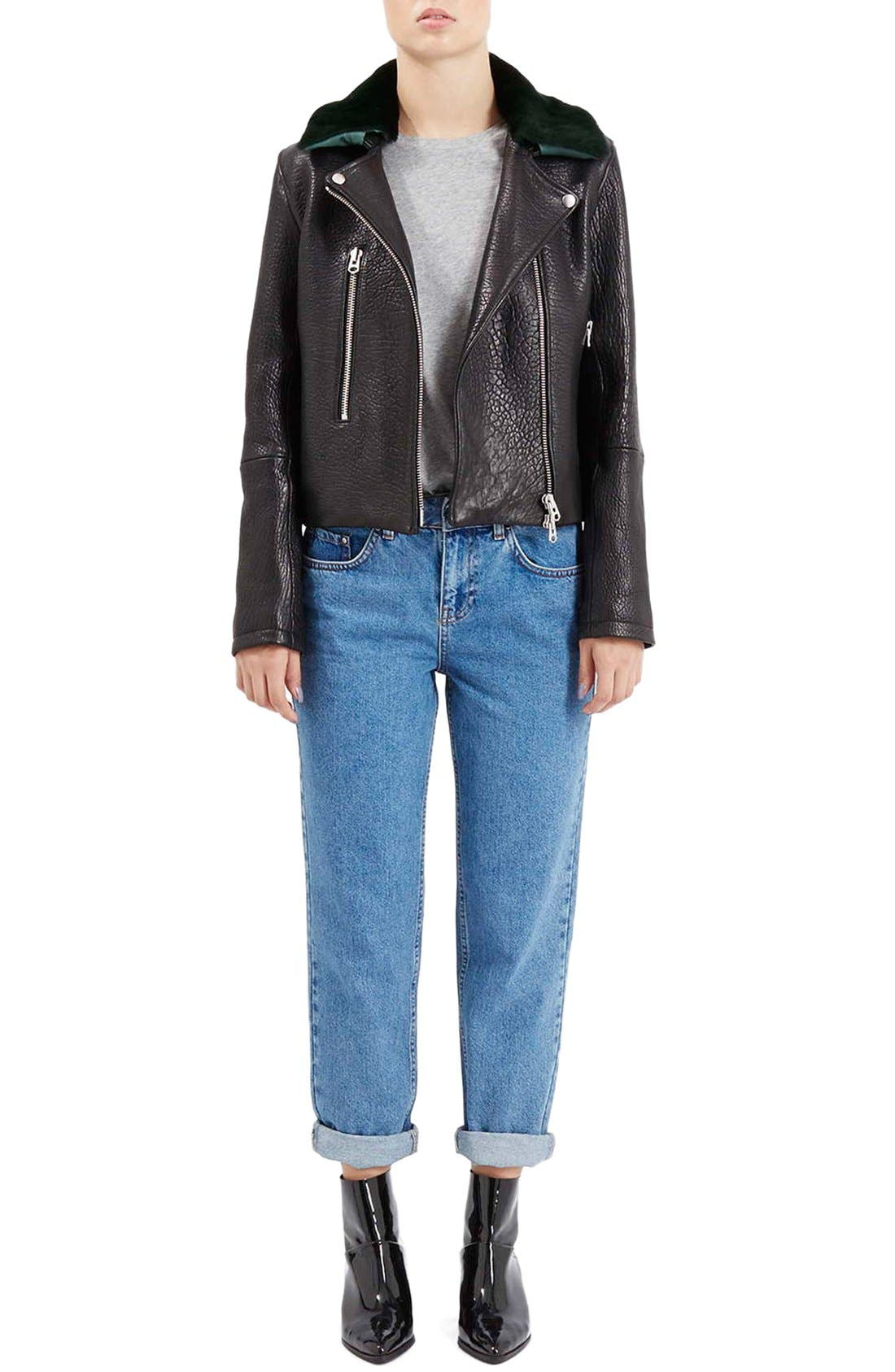 Alternate Image 2  - Topshop Boutique Leather Moto Jacket with Shearling Collar