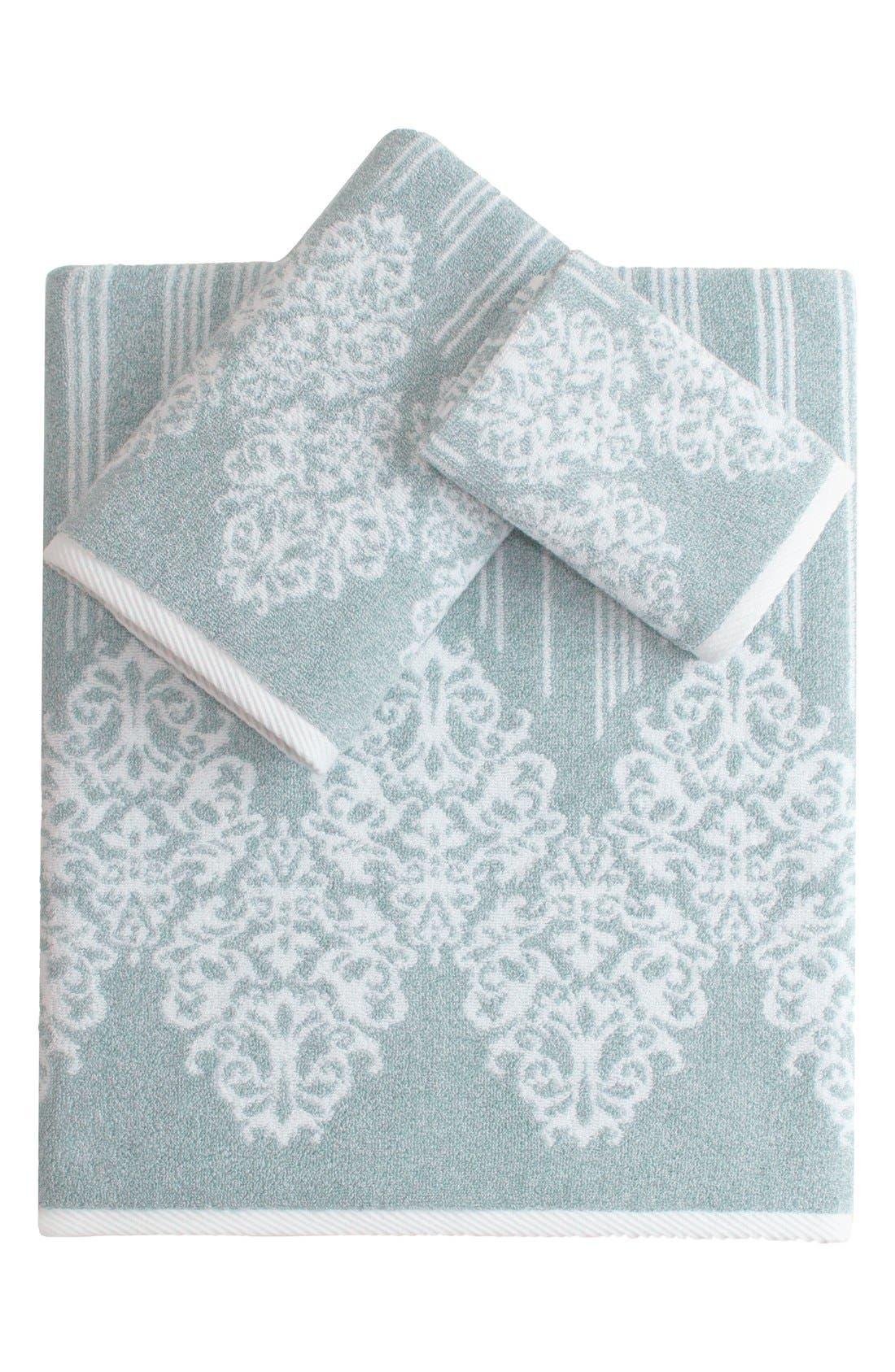 Linum 'Gioia' Bath Towel, Hand Towel & Washcloth,                             Main thumbnail 1, color,                             Soft Aqua