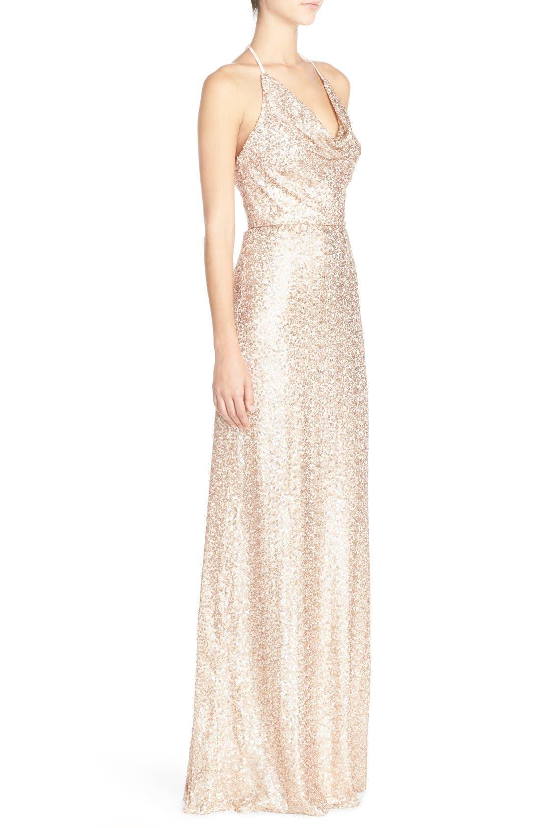 Alternate Image 3  - Amsale 'Honora' Draped Sequin Tulle Halter Gown