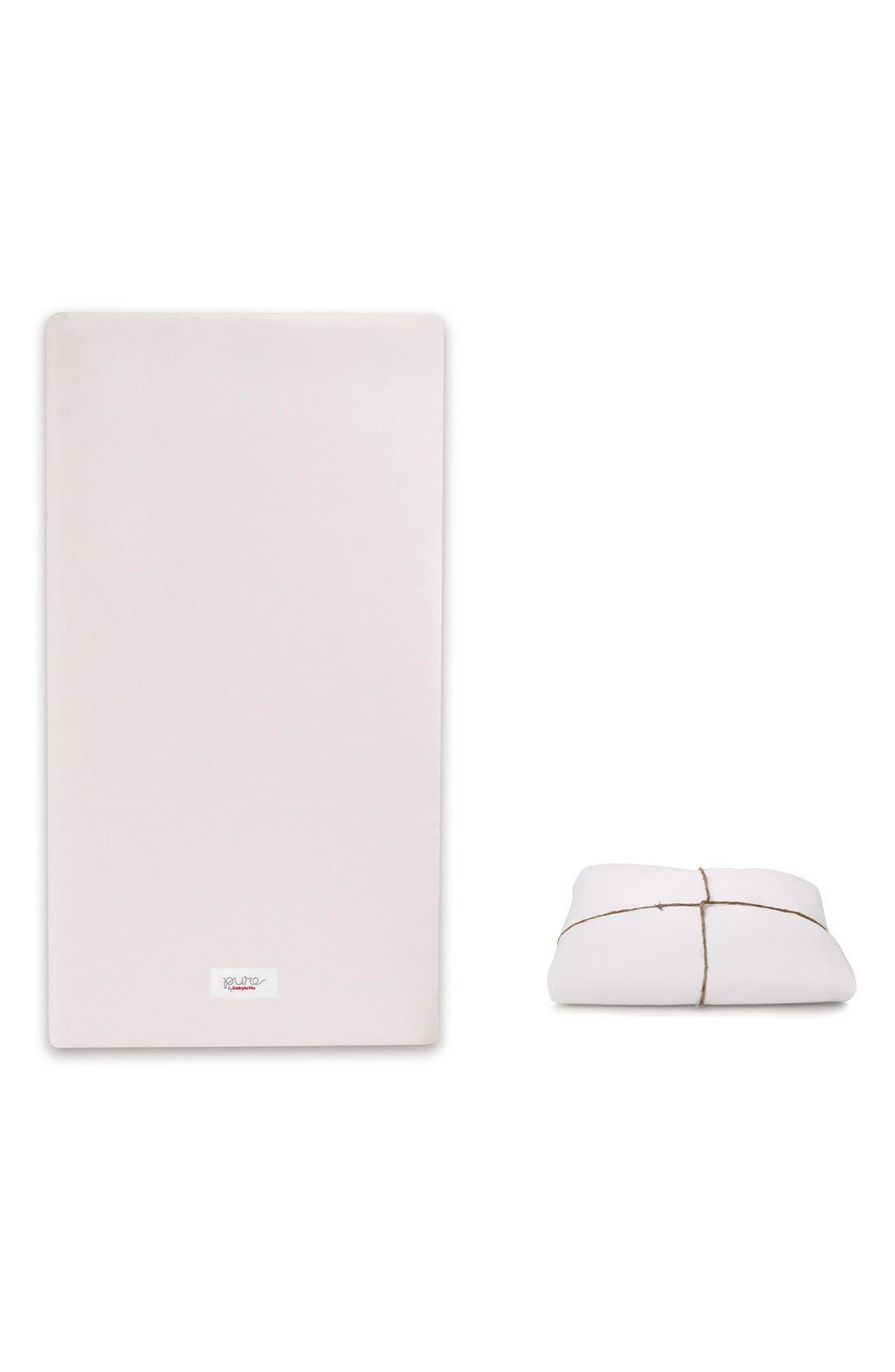 'Pure Core' Nontoxic Crib Mattress & DRY Waterproof Cover,                         Main,                         color, White