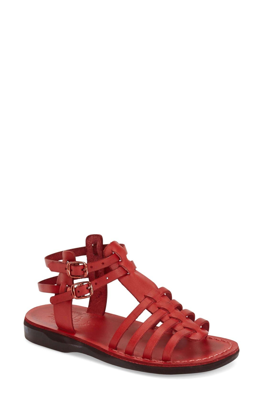 'Leah' Sandal,                             Main thumbnail 1, color,                             Red Leather