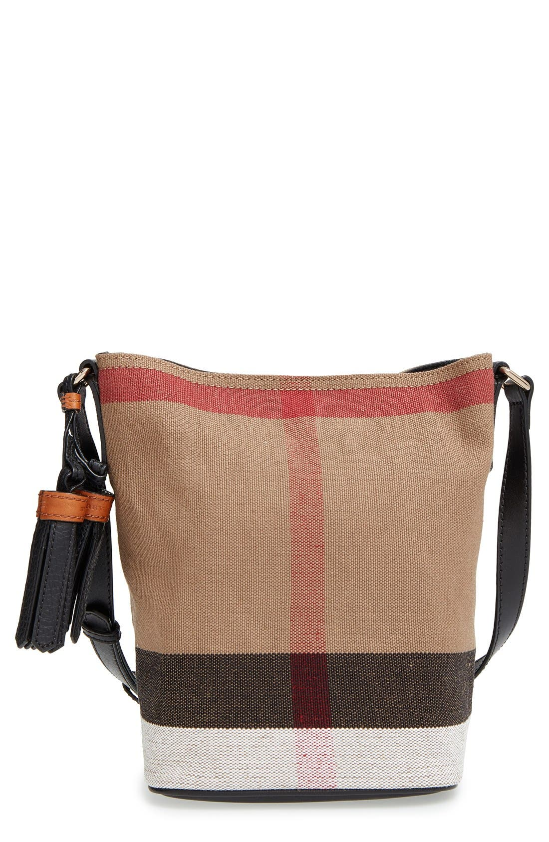 Burberry 'Mini Susanna' Canvas Check Bucket Bag