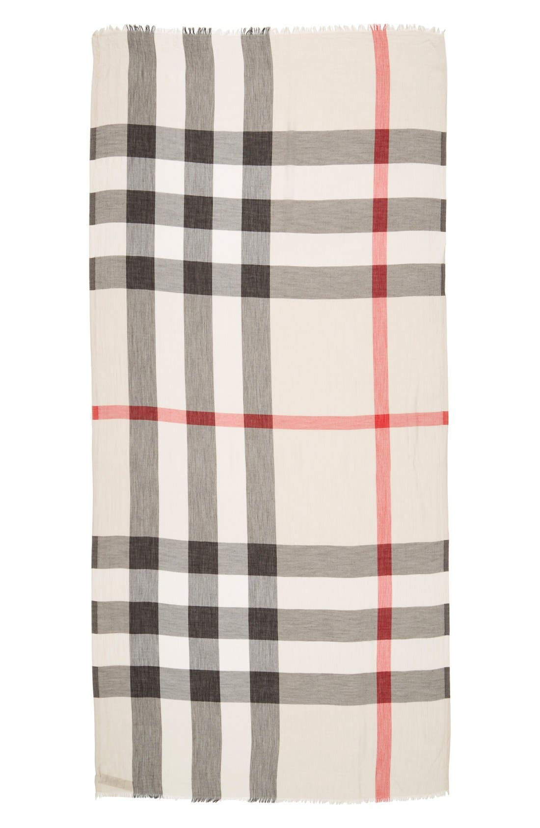 Brit Sheer Mega Check Scarf,                             Alternate thumbnail 3, color,                             Heritage Stone