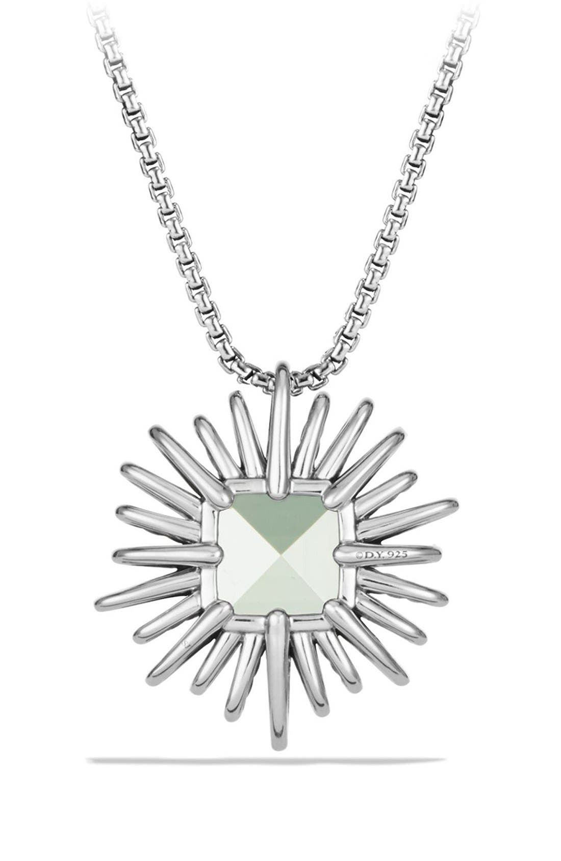 'Starburst' Necklace with Diamonds in Silver,                             Alternate thumbnail 3, color,                             Prasiolite