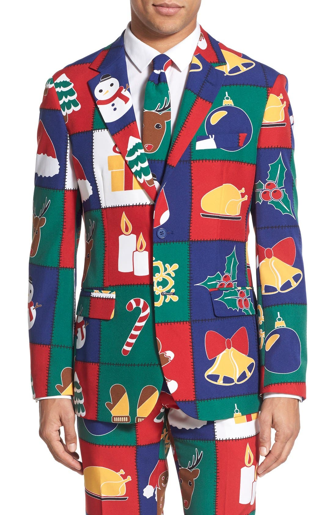'Quilty Pleasure' Holiday Suit & Tie,                             Alternate thumbnail 4, color,                             Green