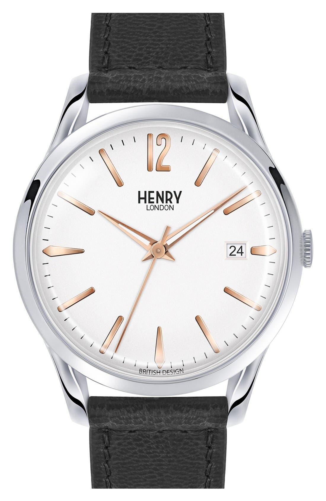 Henry London 'Highgate' Leather Strap Watch, 38mm