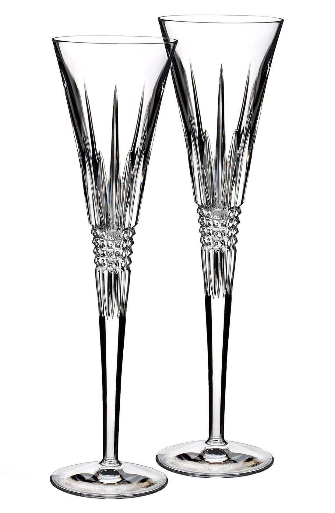 Main Image - Waterford 'Lismore Diamond' Lead Crystal Champagne Flutes (Set of 2)