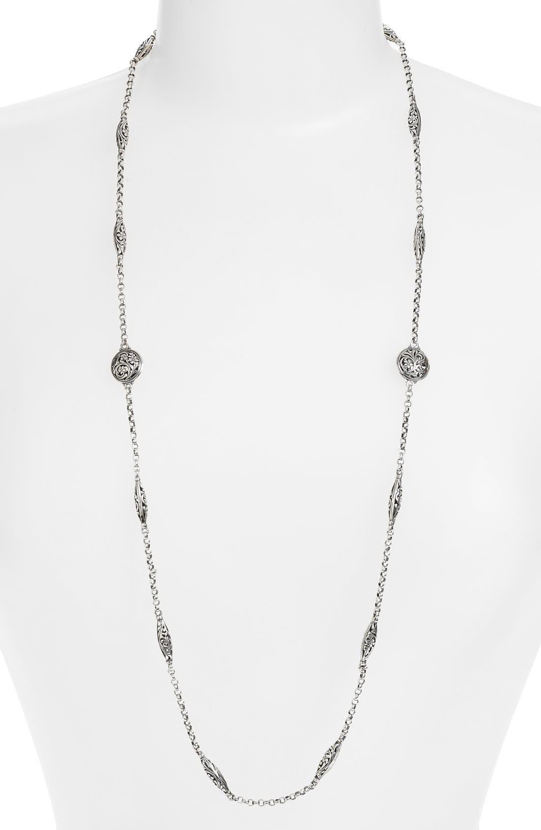 'Silver Classics' Long Filigree Station Necklace,                             Main thumbnail 1, color,                             Silver