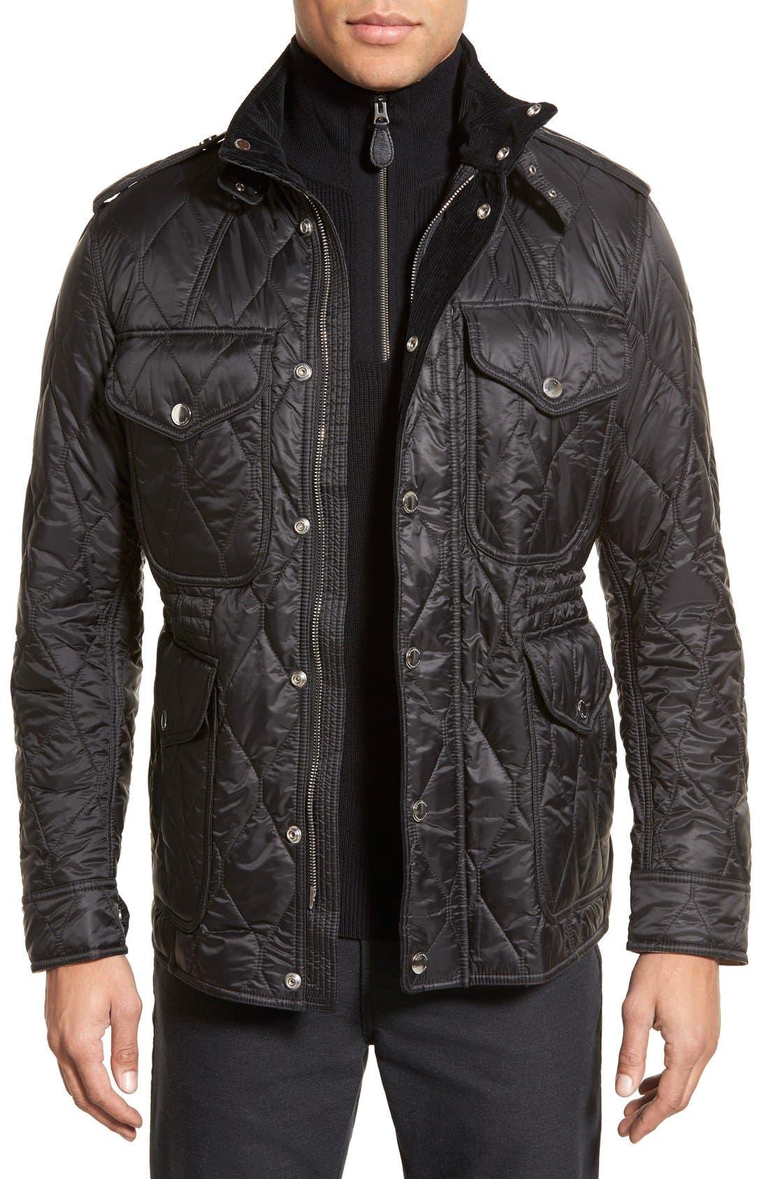 Brit 'Garrington' Quilted Field Jacket,                             Main thumbnail 1, color,                             Black