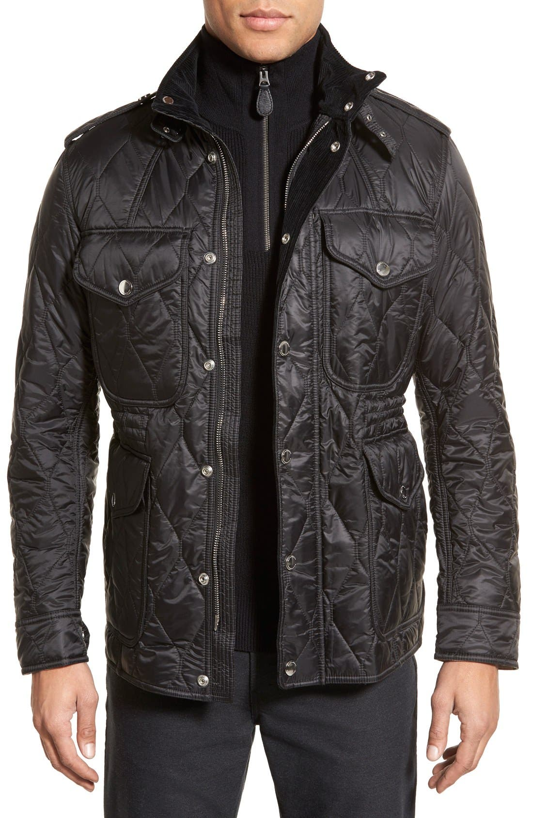 Brit 'Garrington' Quilted Field Jacket,                         Main,                         color, Black