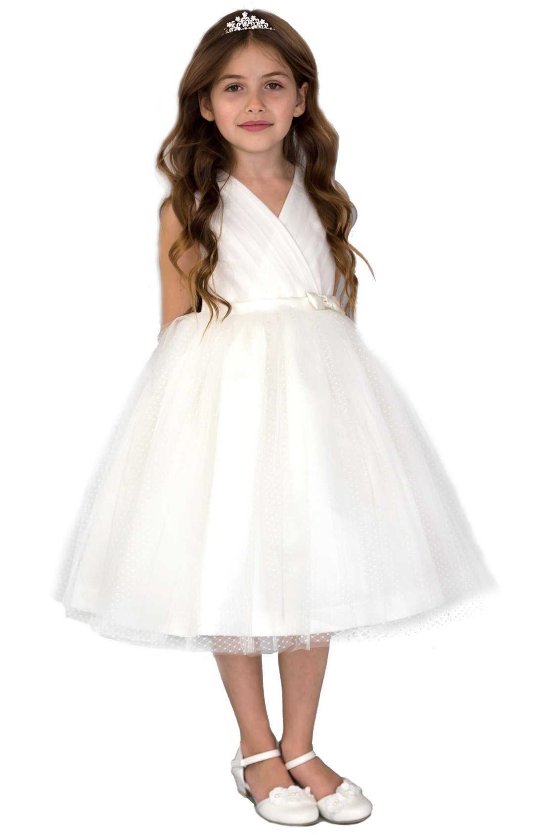 Pleated Dress,                         Main,                         color, Ivory
