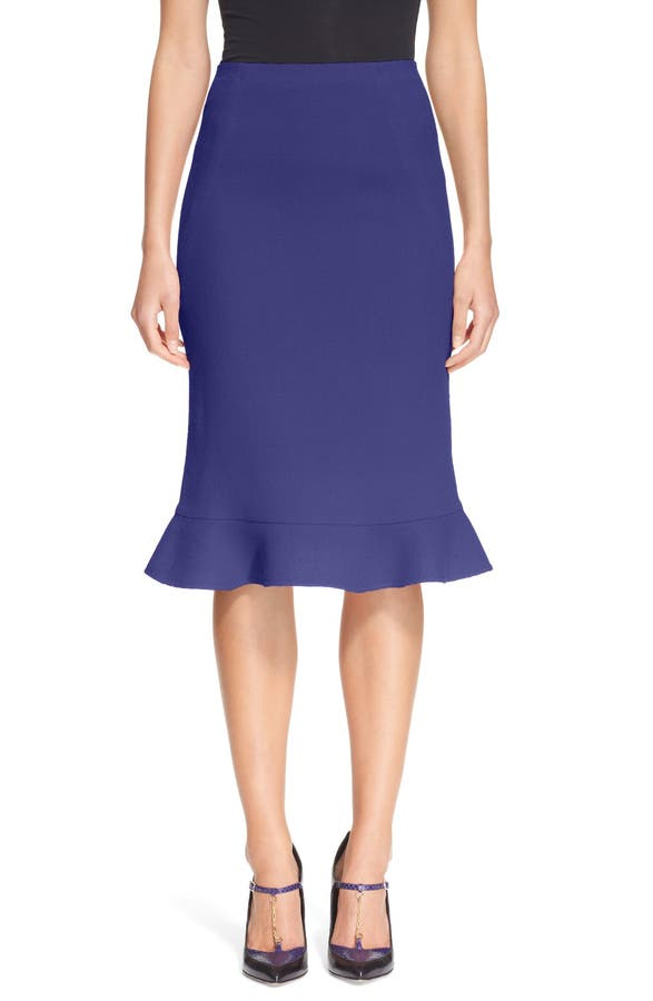Oscar de la Renta Ruffle Hem Wool Crepe Skirt | Nordstrom