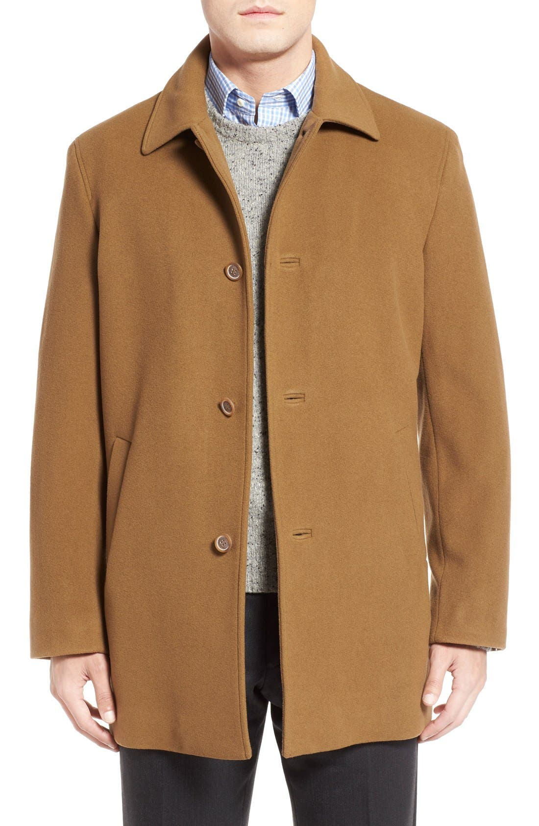 Italian Wool Blend Overcoat,                         Main,                         color, Camel