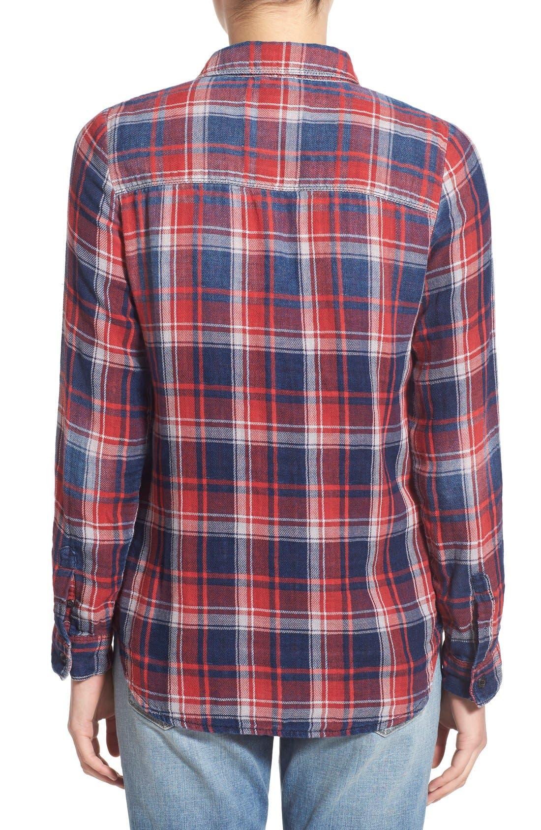Treasure&Bond Classic Fit Plaid Shirt,                             Alternate thumbnail 2, color,                             Navy Indigo Red Tartan