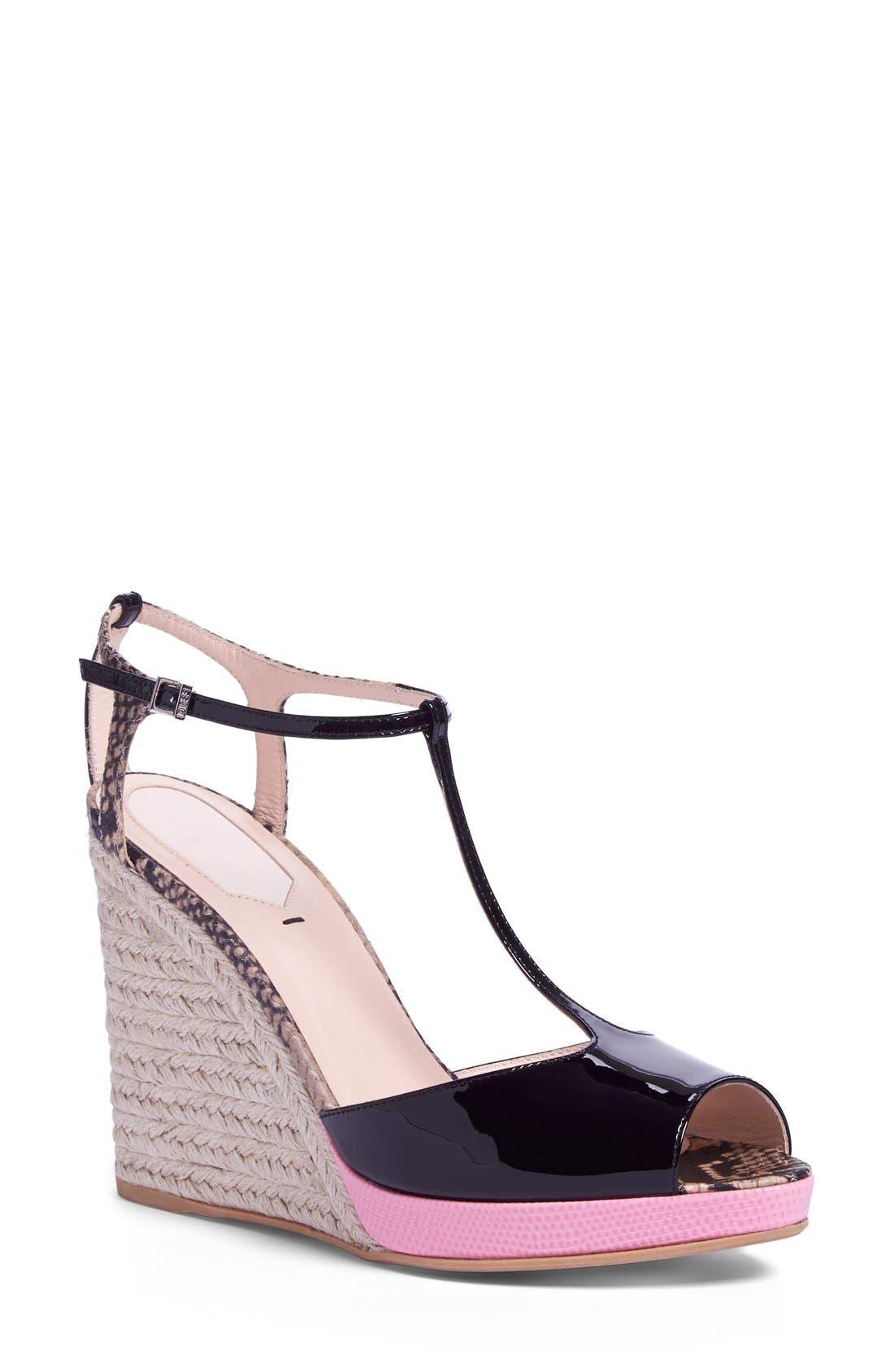'Elodie' T-Strap Wedge Sandal,                             Main thumbnail 1, color,                             Black/ Pink Patent