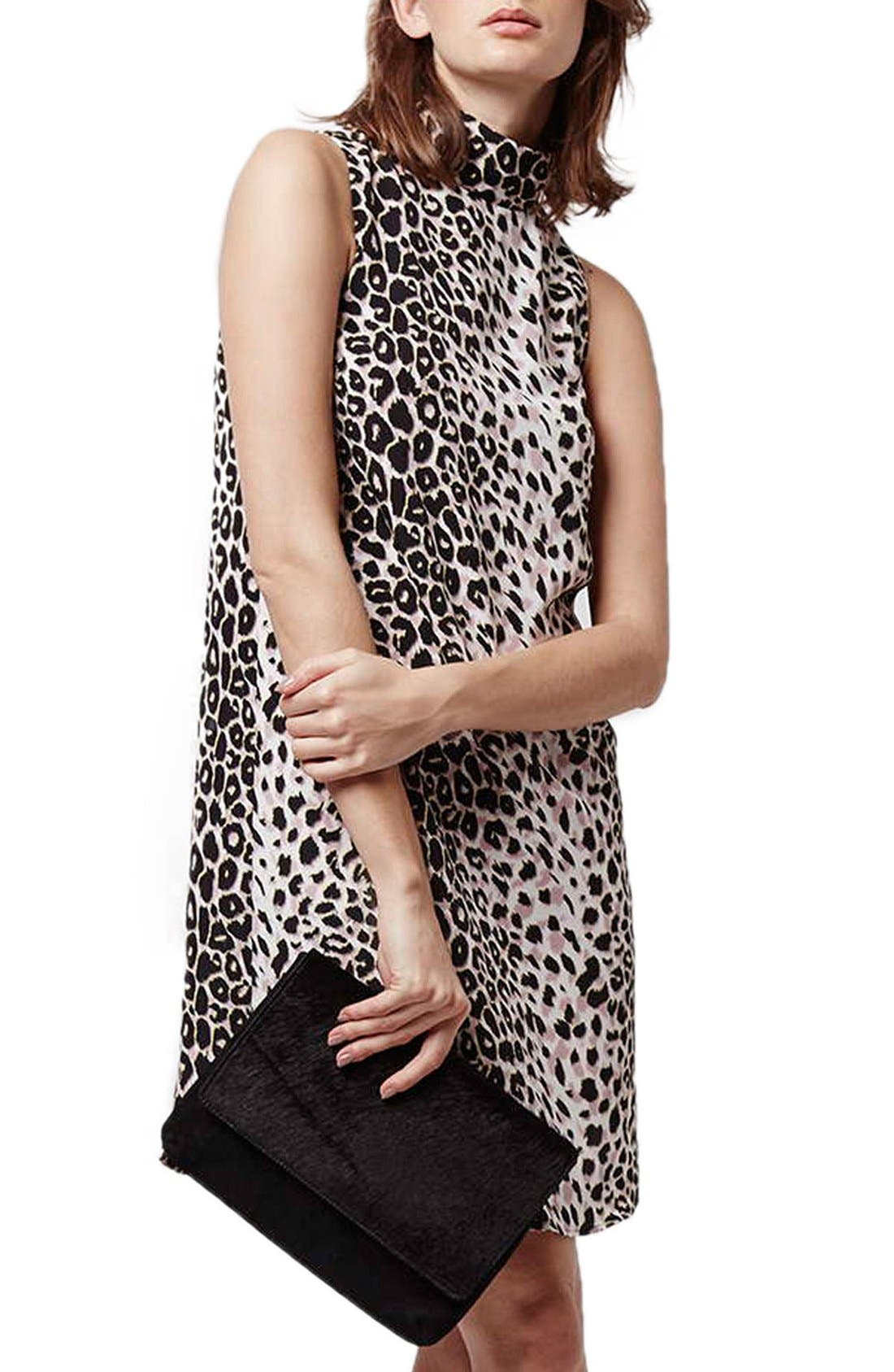 Leopard Print Funnel Neck Tunic Dress,                             Main thumbnail 1, color,                             Grey Multi