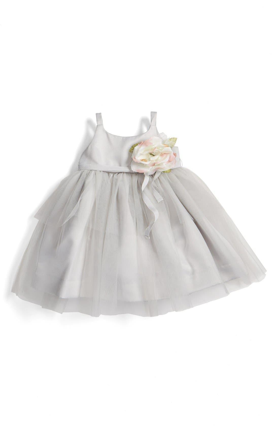 Tulle Ballerina Dress,                         Main,                         color, Silver