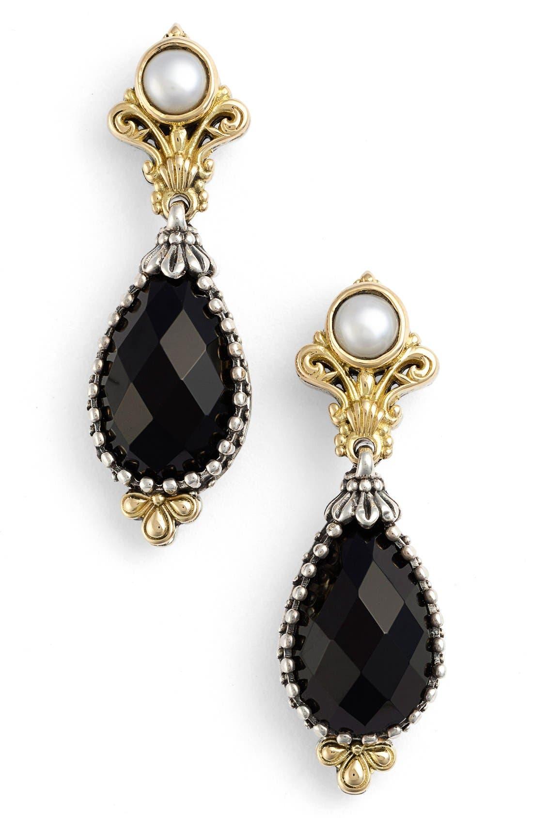'Nykta' Pearl & Black Onyx Drop Earrings,                             Main thumbnail 1, color,                             Silver/ Gold/ Pearl