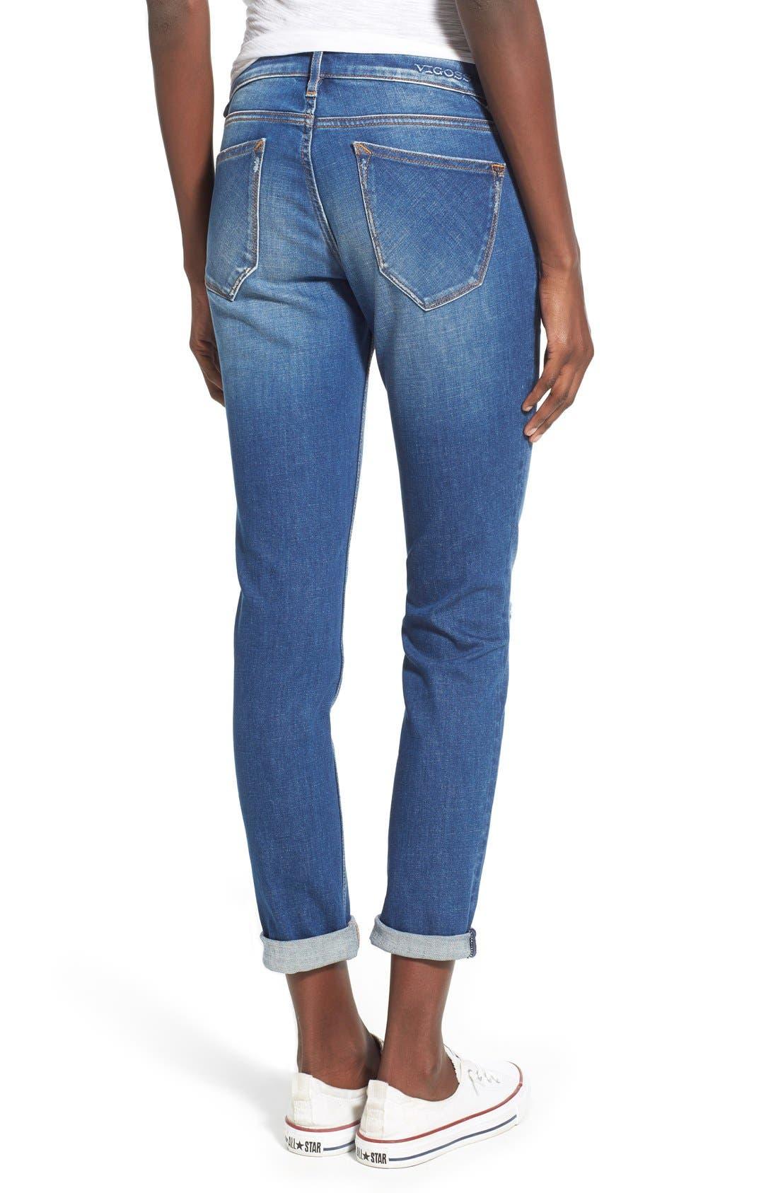 Alternate Image 2  - Vigoss 'Tomboy Thompson' Destructed Jeans (Medium Wash)