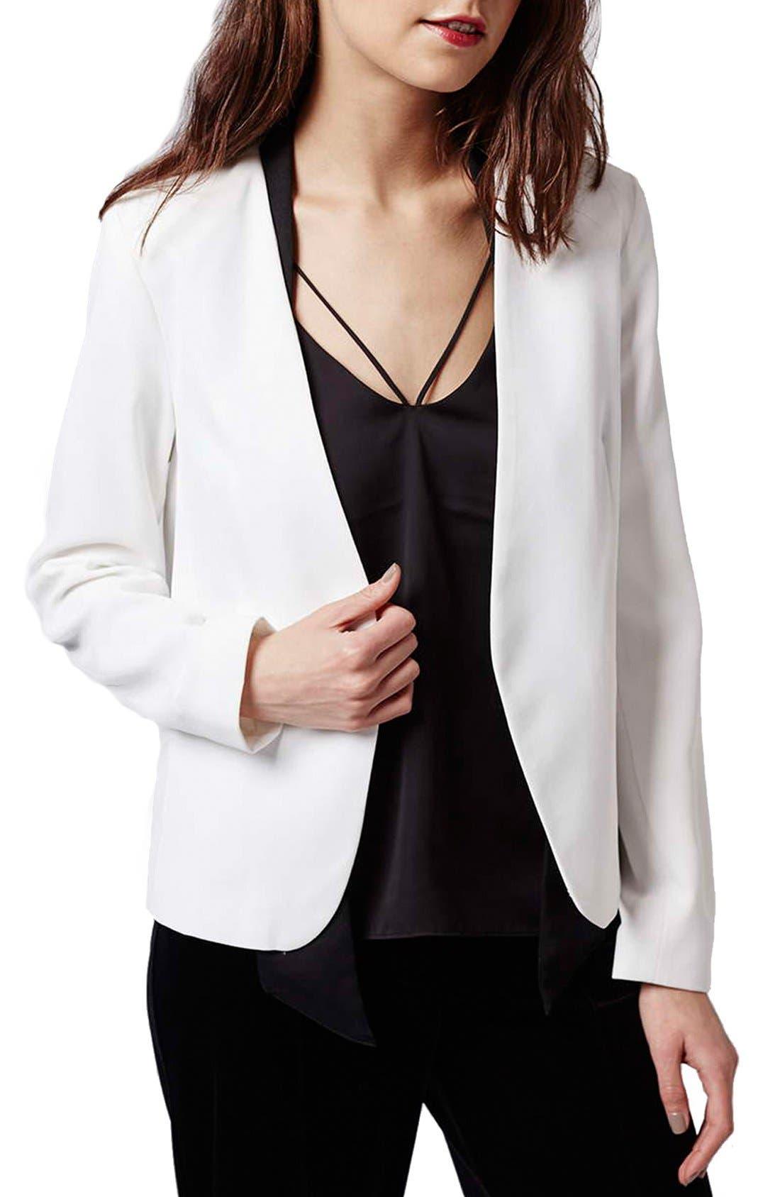 Main Image - Topshop Neck Tie Tuxedo Jacket