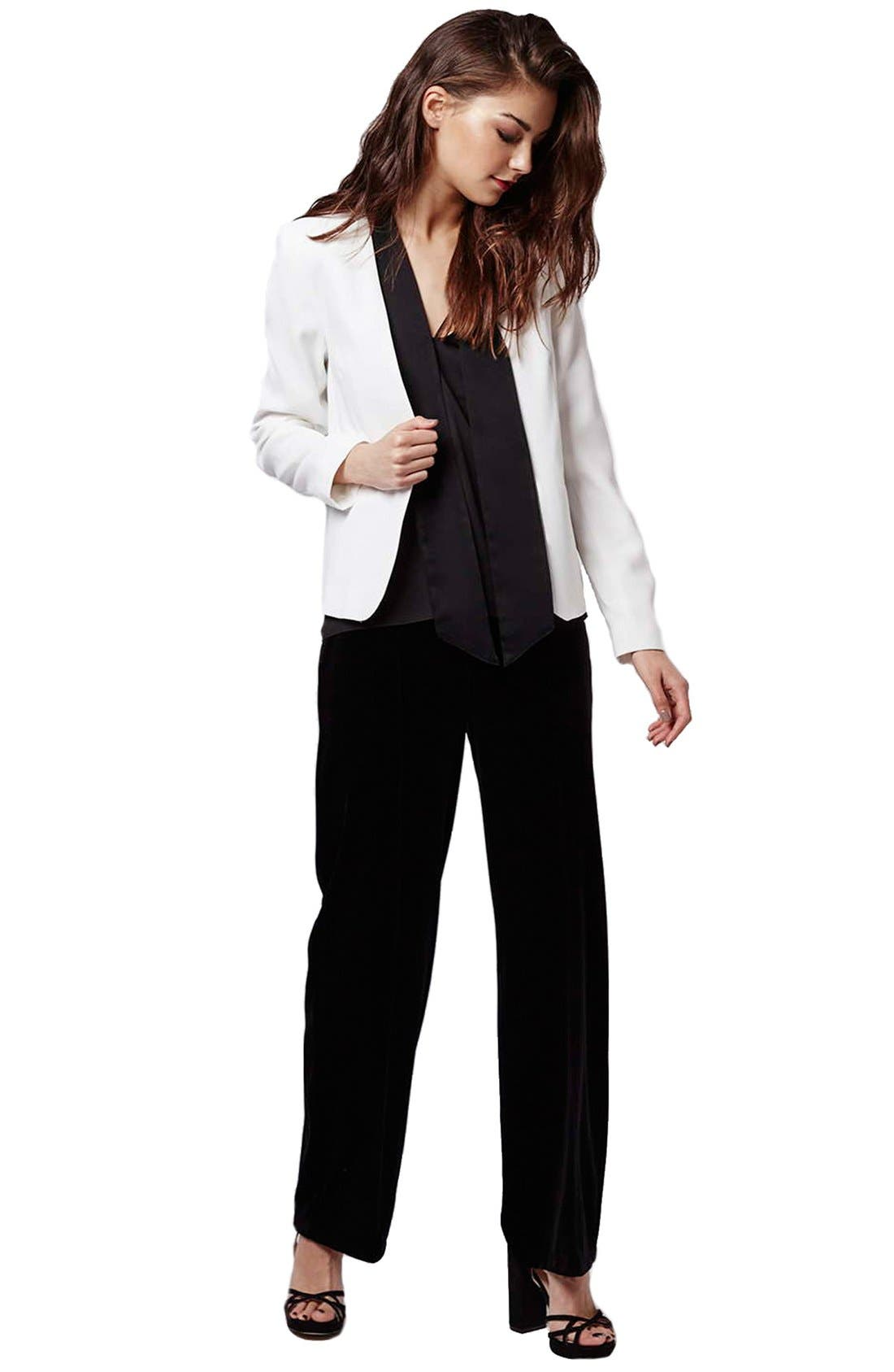 Alternate Image 2  - Topshop Neck Tie Tuxedo Jacket