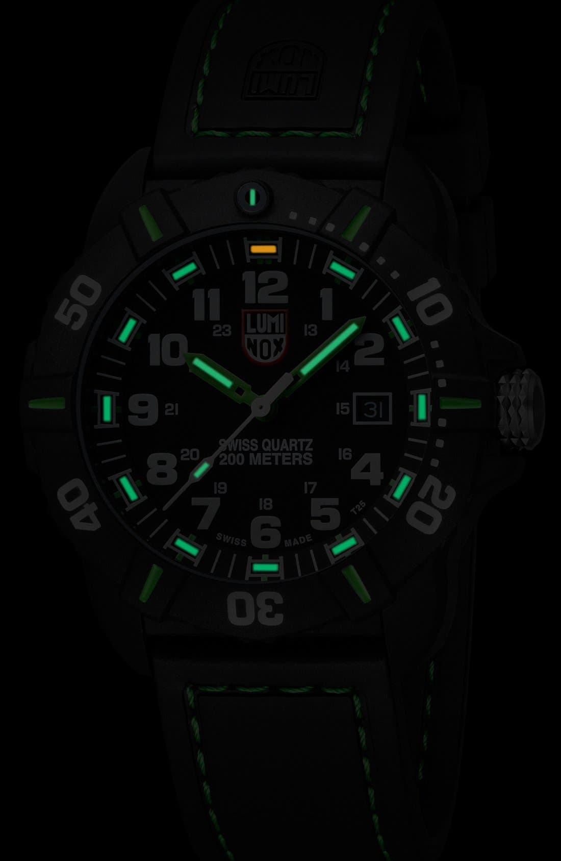 'Coronado' Rubber Strap Watch, 44mm,                             Alternate thumbnail 3, color,                             Black/ Green