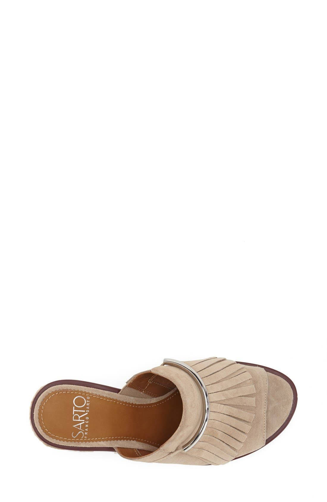 'Candace' Wedge Mule,                             Alternate thumbnail 3, color,                             Soft Tan Kid Suede
