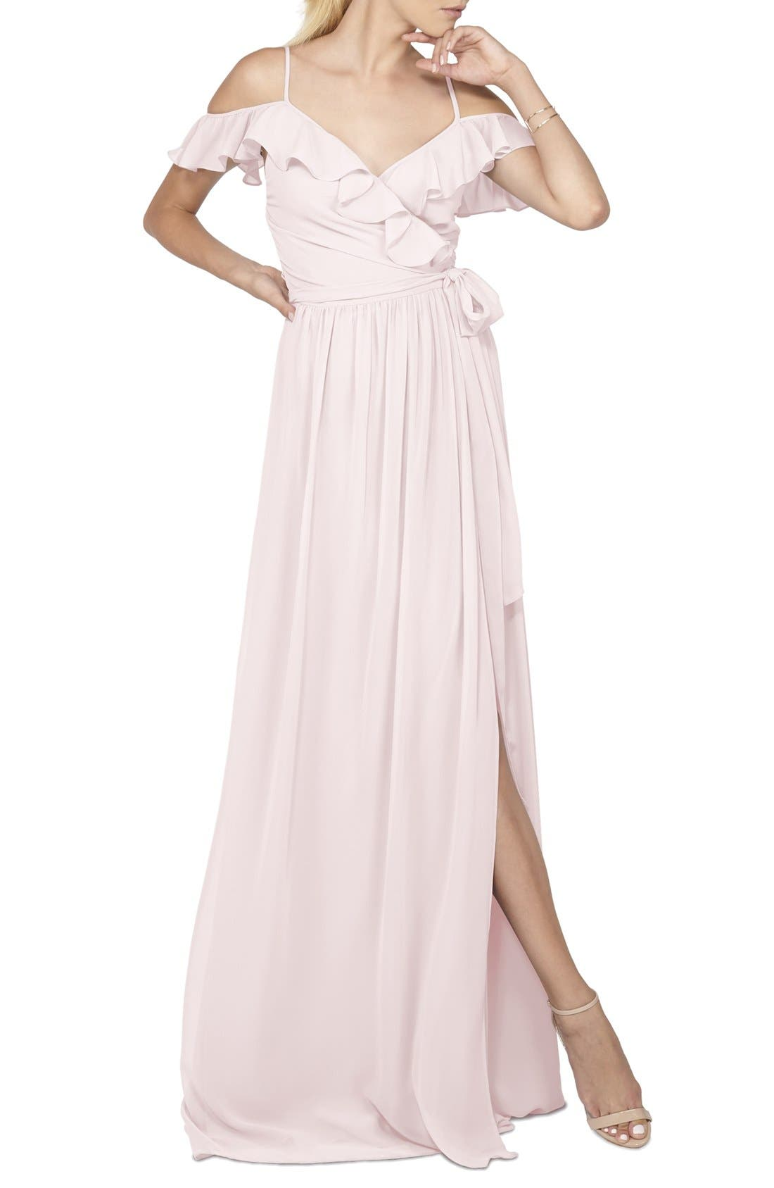 Portia Off the Shoulder Ruffle Wrap Chiffon Gown,                         Main,                         color, Tiny Dancer