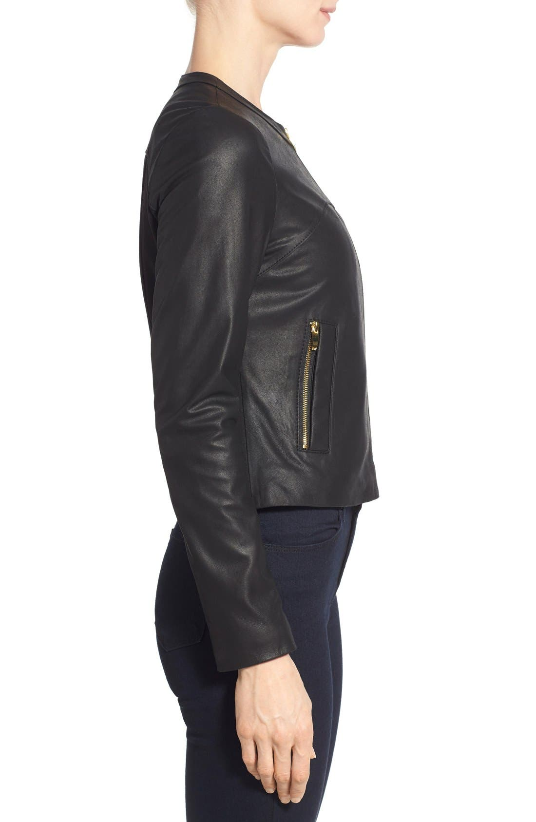 Lambskin Leather & Knit Zip Front Collarless Jacket,                             Alternate thumbnail 3, color,                             Black