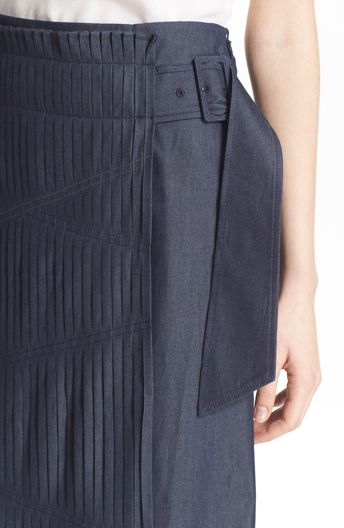 'Manuela' Pleated Cotton Midi Skirt,                             Alternate thumbnail 4, color,                             Steel Denim