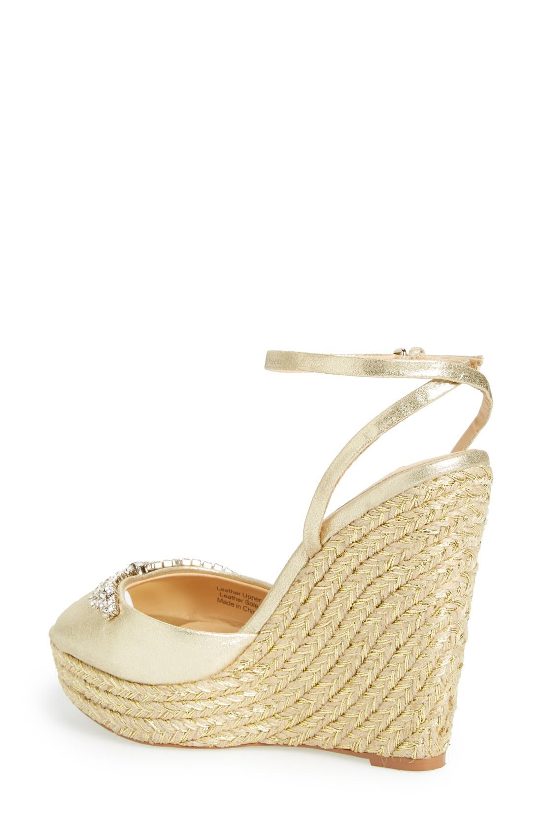 'Annabel' Crystal Embellished Wedge,                             Alternate thumbnail 2, color,                             Gold Suede