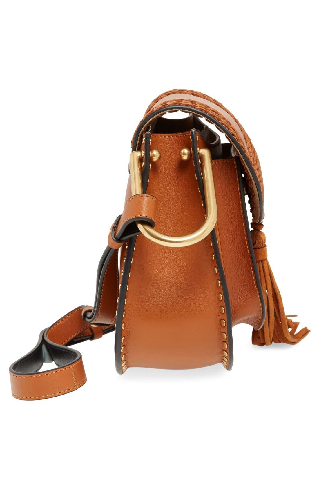 'Small Hudson' Studded Calfskin Leather Crossbody Bag,                             Alternate thumbnail 6, color,                             Caramel