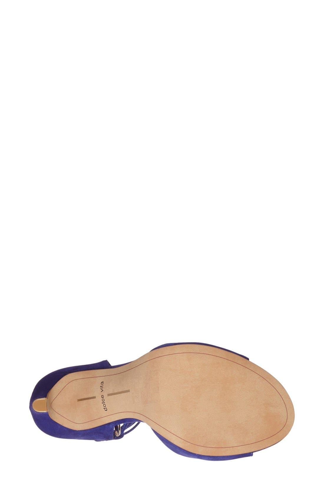 'Hazely' Lace-Up Sandal,                             Alternate thumbnail 4, color,                             Blue Suede