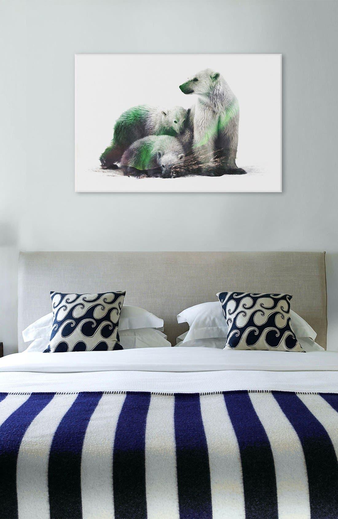 Alternate Image 2  - iCanvas 'Polar Bear Family' Leather Art Print