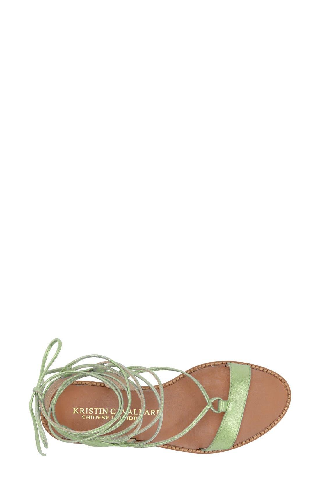 'Belle' Lace-Up Sandal,                             Alternate thumbnail 3, color,                             Mint Leather