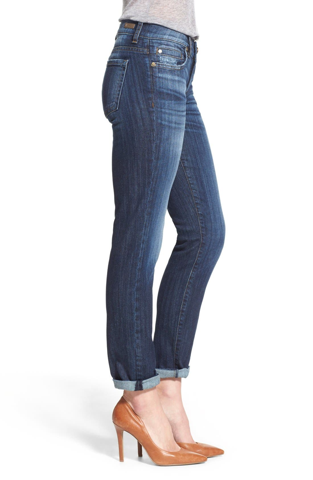 'Catherine' Stretch Boyfriend Jeans,                             Alternate thumbnail 4, color,                             Goal