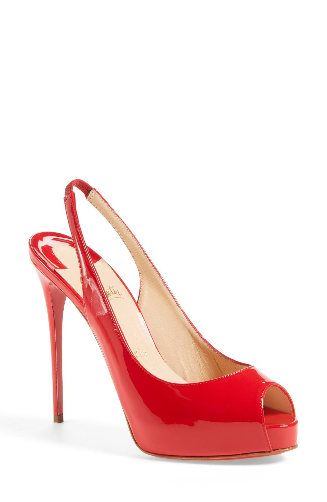 Alternate Image 1 Selected - Christian Louboutin 'Private Number' Peep Toe Slingback Pump