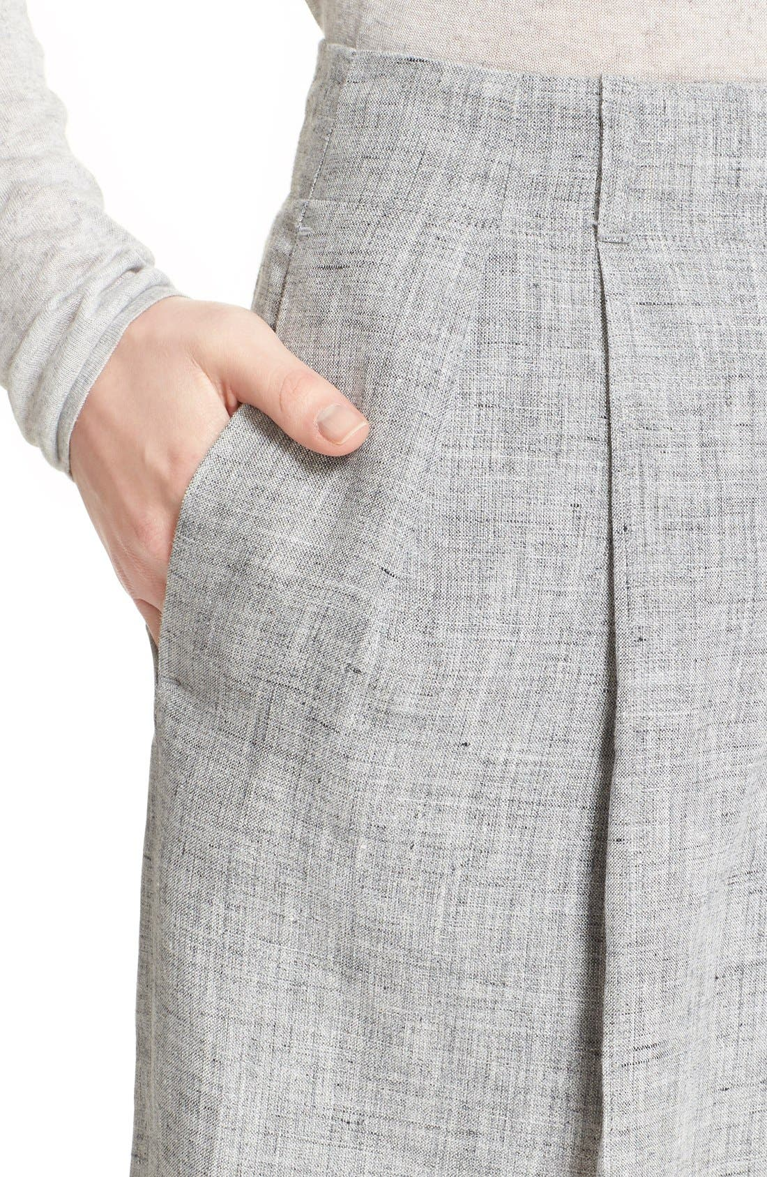 Alternate Image 6  - Michael Kors Pleated Crop Mélange Linen Pants