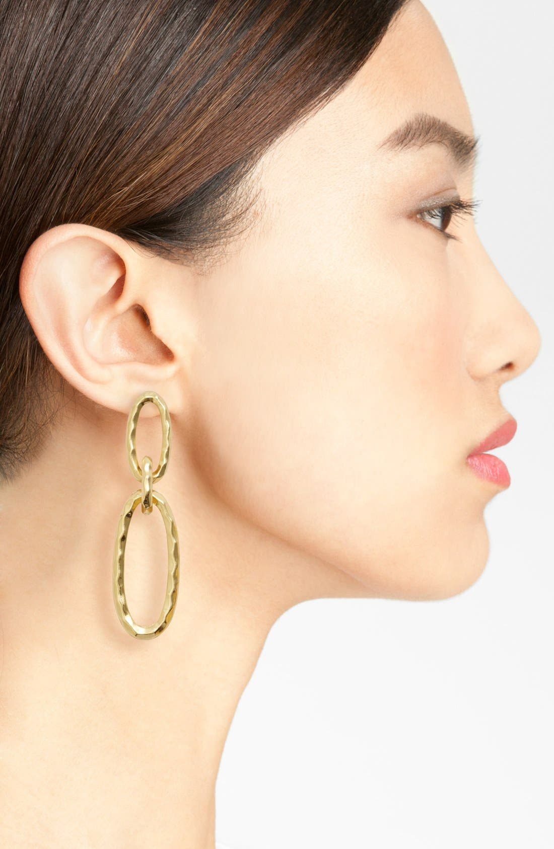 Double Oval Link Earrings,                             Alternate thumbnail 2, color,                             Gold