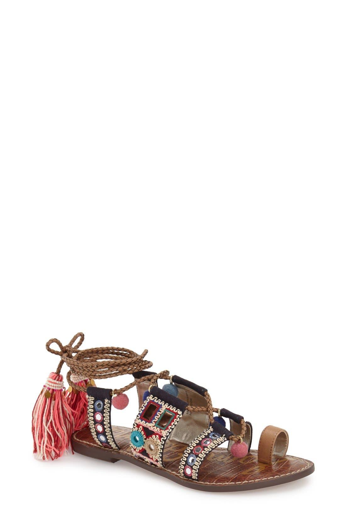 Alternate Image 1 Selected - Sam Edelman 'Gretchen' Embellished Lace-Up Sandal (Women)