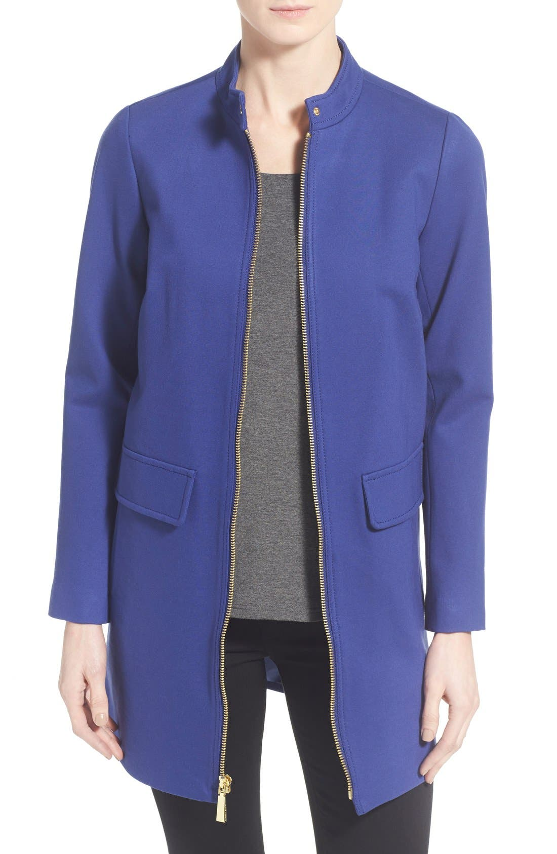 Alternate Image 1 Selected - Vince Camuto Stand Collar Ponte Zip Front Coat